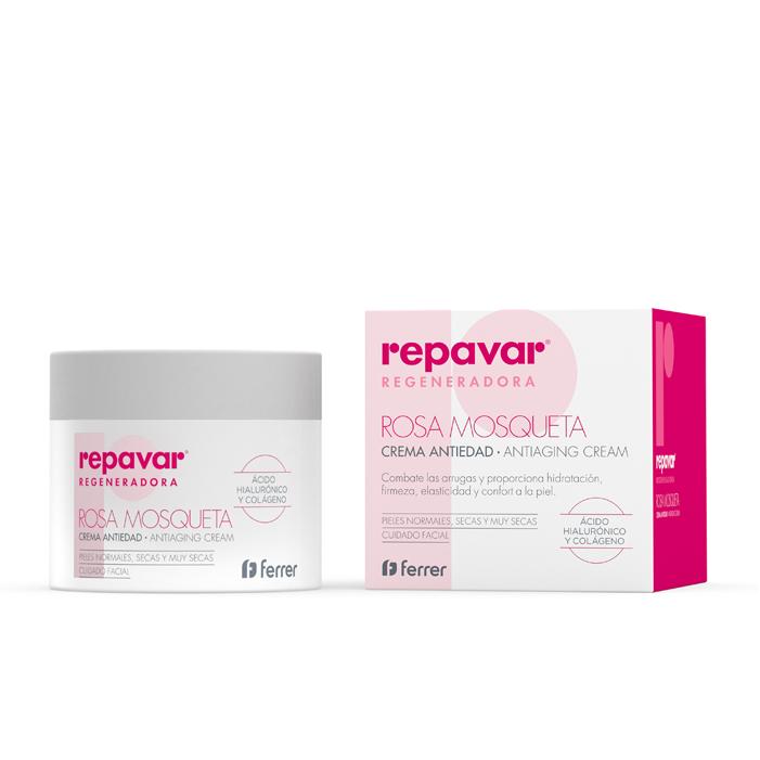 Kem dưỡng giảm thiểu quá trình lão hóa chứa dầu tầm xuân, axit hyaluronic, collagen & vitamin E REPAVAR Rosa Mosqueta 50ml